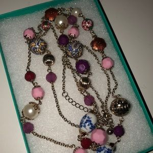 Forever 21 pink multi color beaded necklace